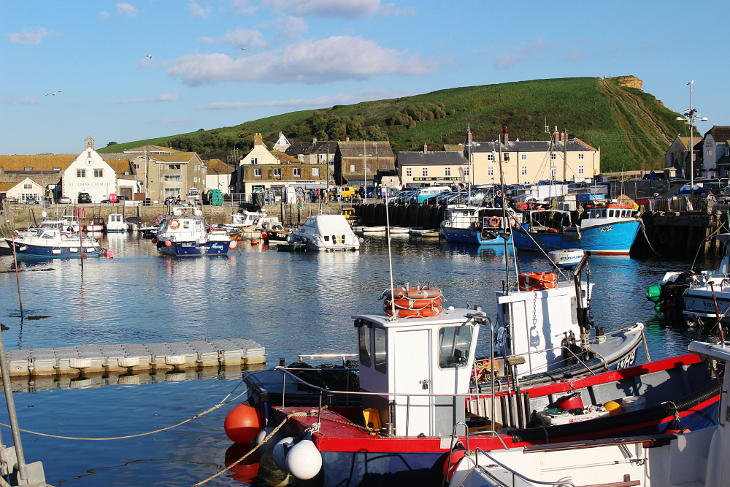 view of west bay harbour and cliff top walk