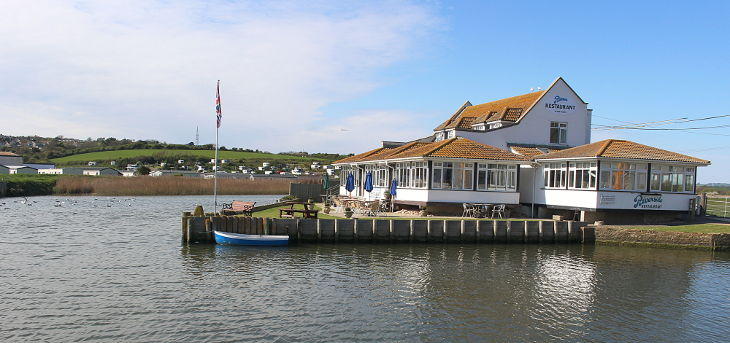 A popular restaurant on the river at west bay
